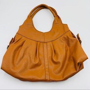 Vintage Cognac Faux Leather Hobo Shoulder Bag